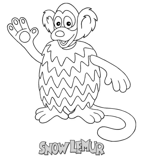 Lemur, : Greeting Snow Lemur Coloring Page
