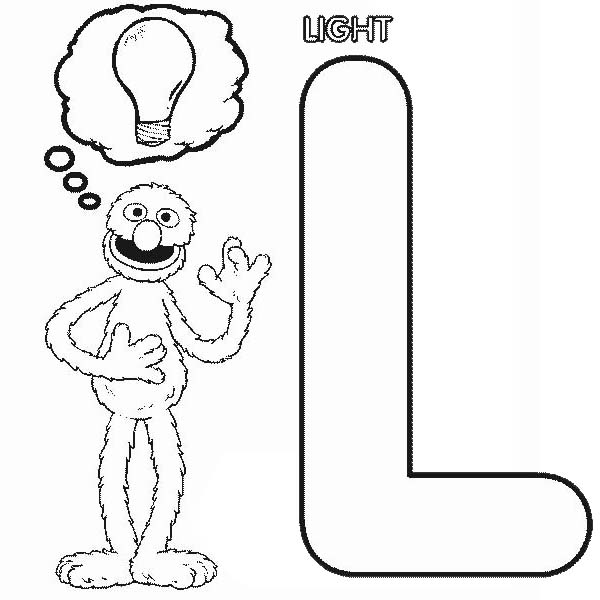 grover thinking about bulb light in sesame street coloring page