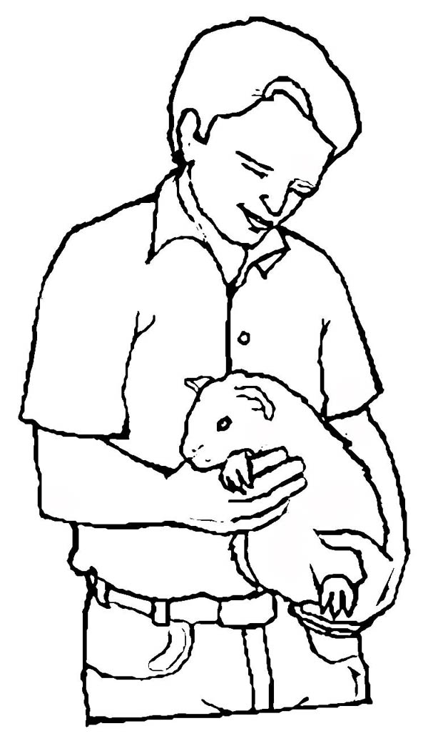 Guinea Pig, : Guinea Pig as Pet Coloring Page