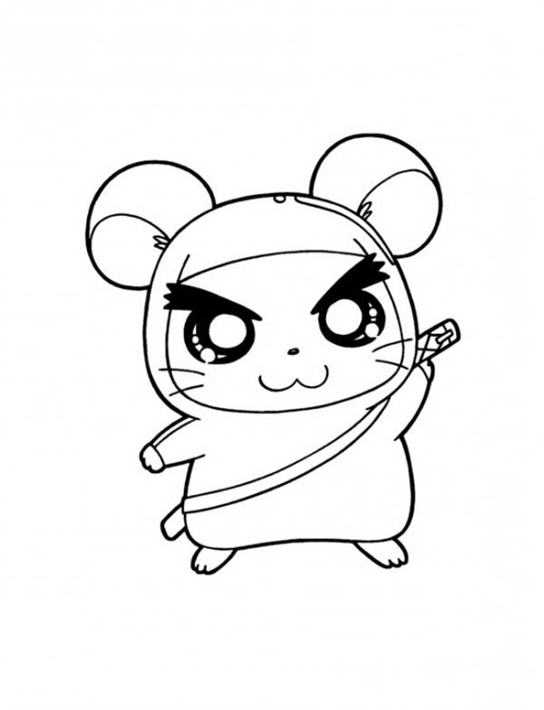 Guinea Pig, : Hamtaro in Guinea Pig Coloring Page