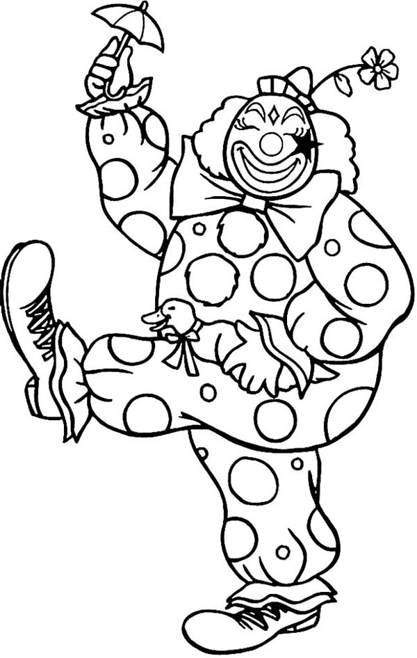 Clown, : Happy Clown Walking with Little Umbrella Coloring Page