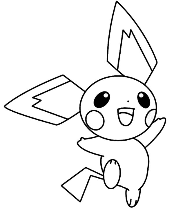 Pichu, : Happy Pichu Jumping Around Coloring Page