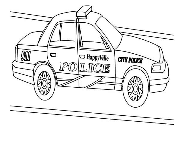 Police Car, : Happy Ville Police Car Coloring Page