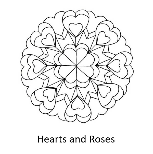 Hearts & Roses, : Hearts and Roses Mandala Coloring Page