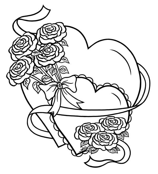 hearts roses hearts and roses tied with ribbon coloring page - Coloring Pages Hearts Roses