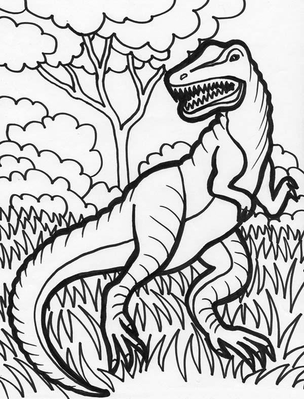 hideous t rex coloring page