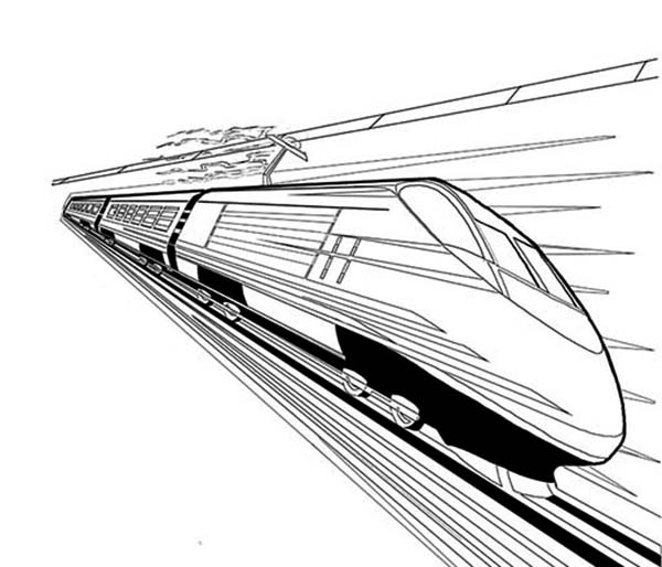 Trains, : High Speed Train Coloring Page