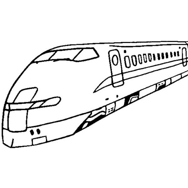 Trains, : High Speed Train for Passanger Coloring Page