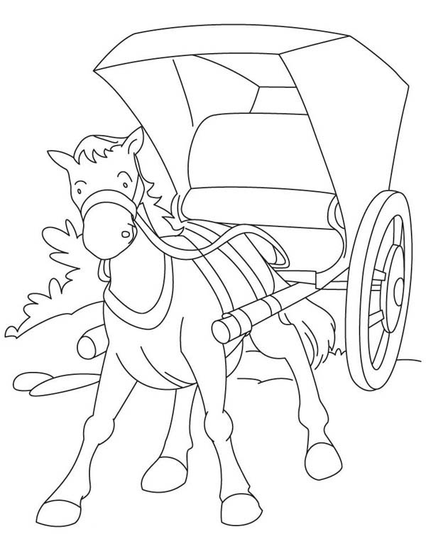 Middle Ages, : Horse Carriage in Middle Ages Coloring Page
