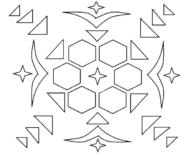 Rangoli, : How to Deisgn Rangoli Coloring Page
