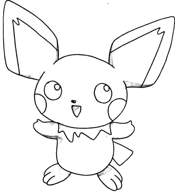 Pichu, : How to Draw Pichu Coloring Page