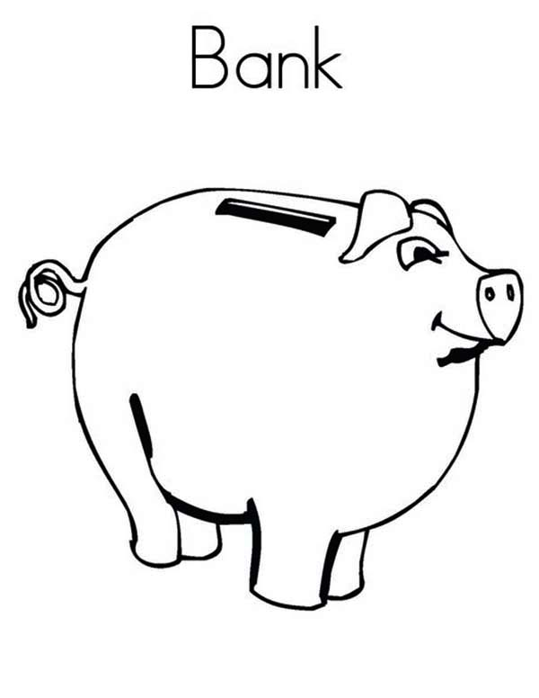 Piggy Bank, : How to Draw Piggy Bank Coloring Page