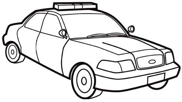 Police Car, : How to Draw Police Car Coloring Page