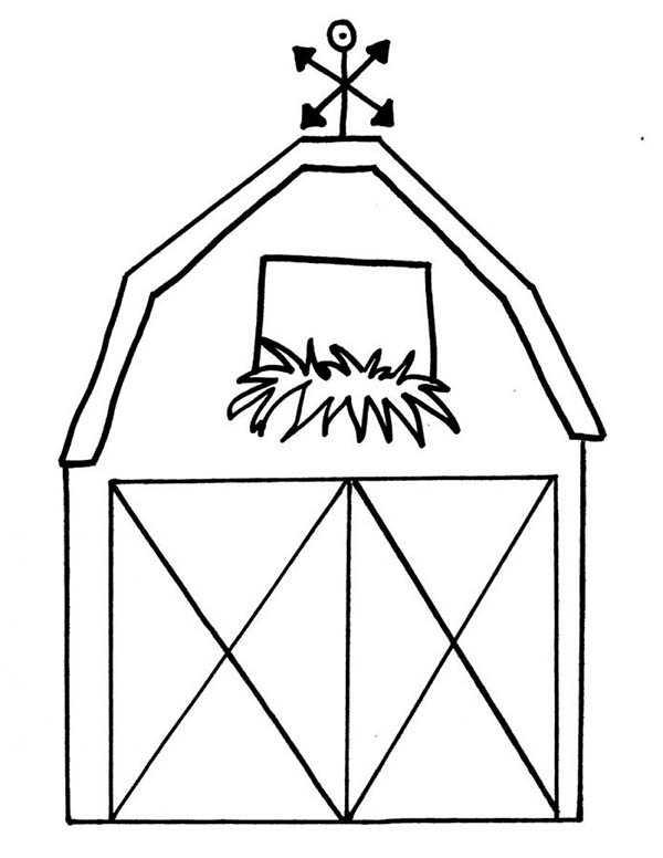 Barn, : How to Draw a Barn Coloring Page