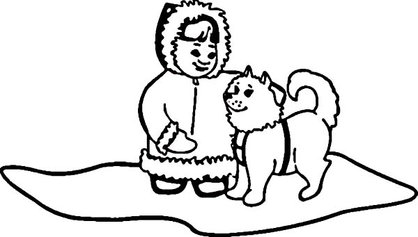 Eskimo, : Husky with little Eskimo Girl Coloring Page