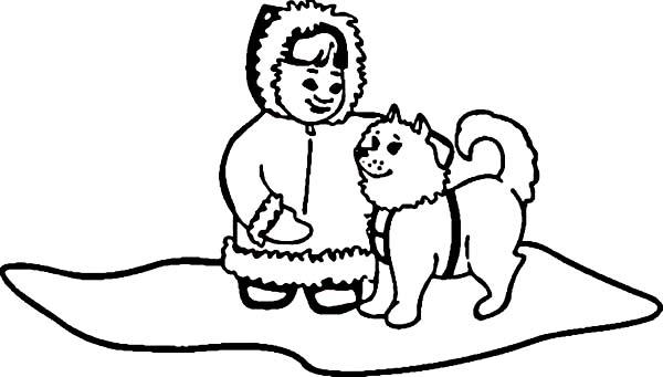 eskimo husky with little eskimo girl coloring page husky with little eskimo girl coloring