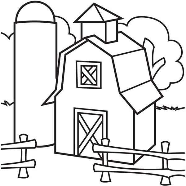Image of barn and silo coloring page