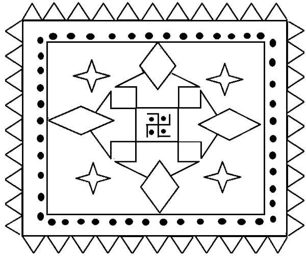 Rangoli, : Indian Folk Art Rangoli Coloring Page