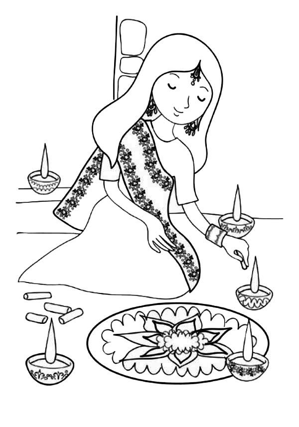 Indian Girl Decorating Rangoli Coloring Page | Color Luna