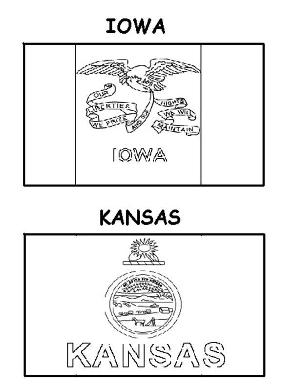 Kansas and iowa state flag coloring page color luna for Kansas state flag coloring page