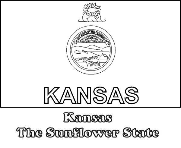 kansas the sunflower state flag coloring page