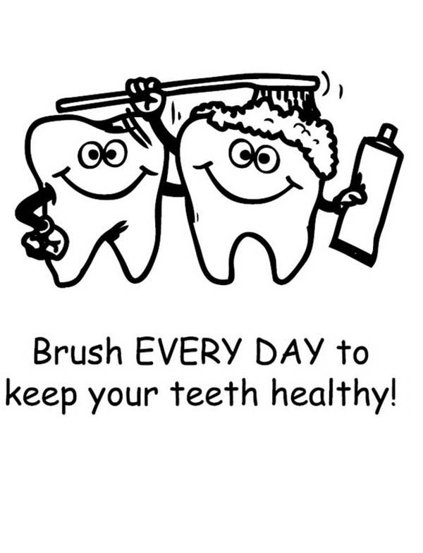 Keep Your Teeth Healthty in Dental Health Coloring Page | Color Luna