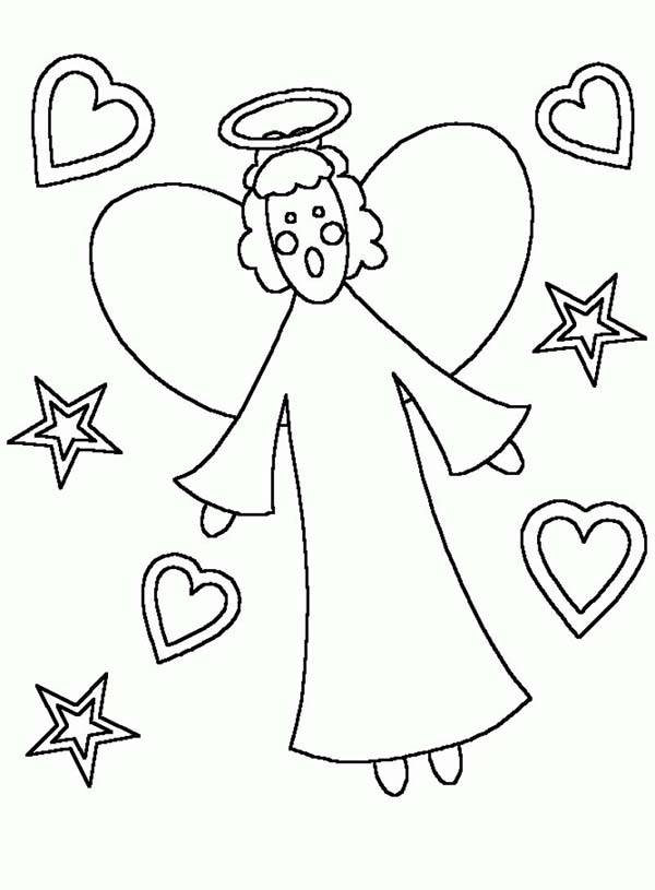 Angels, : Kids Drawing of Angels Coloring Page