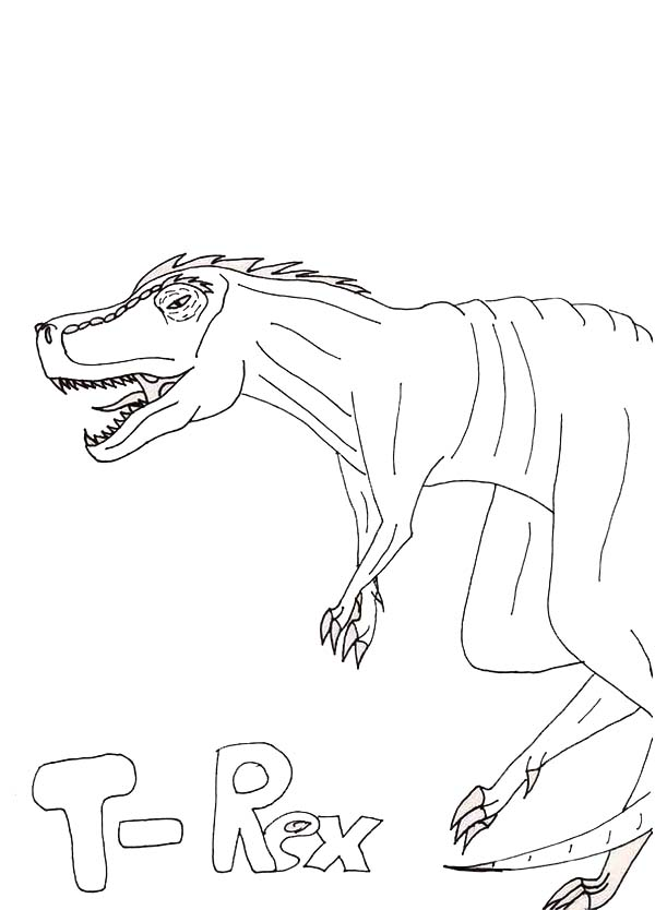 T-Rex, : Kids Drawing of T Rex Coloring Page