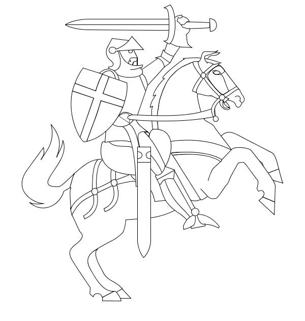 Middle Ages, : Knight Rearing o His Horse in Middle Ages Coloring Page