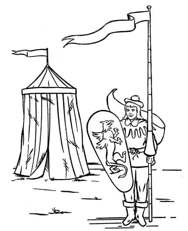 Middle Ages, : Knight in Front of Tend in Middle Ages Coloring Page