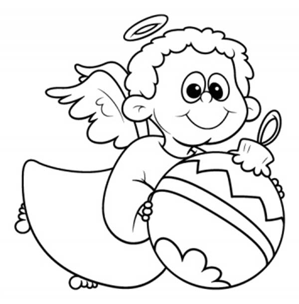 Angels Little With Christmas Tree Ball Coloring Page