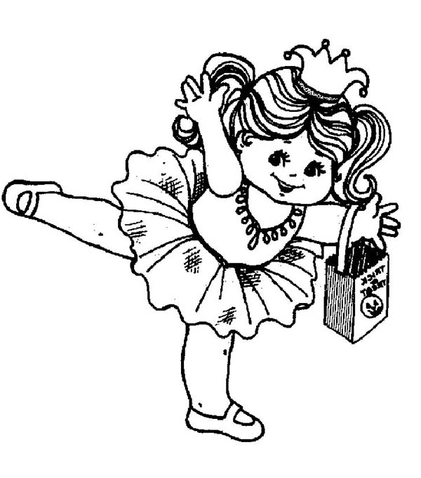 Ballerina, : Little Ballerina of Halloween Coloring Page