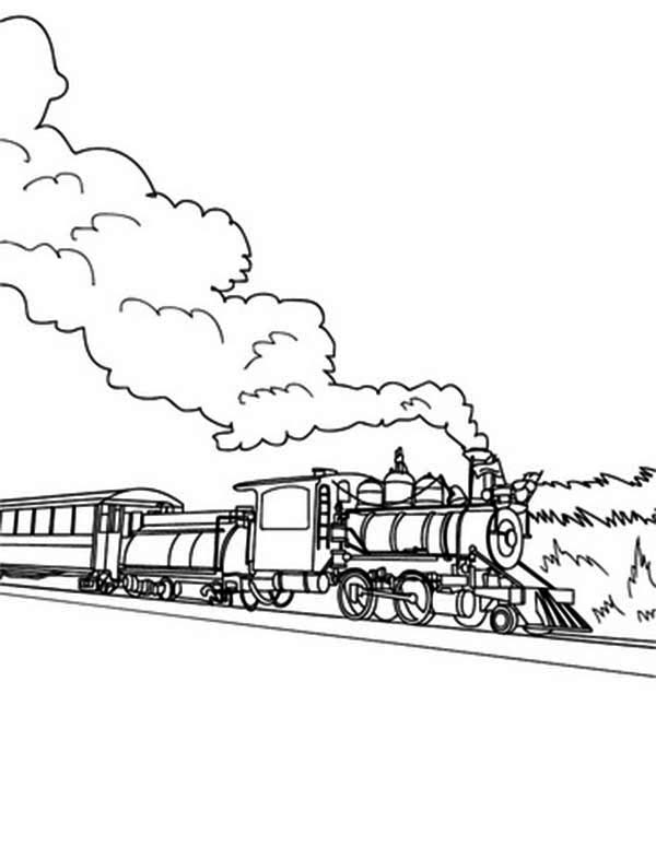 Railroad, : Long Steam Train on Railroad Coloring Page