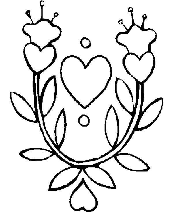 Hearts & Roses, : Lovely Hearts and Roses Coloring Page