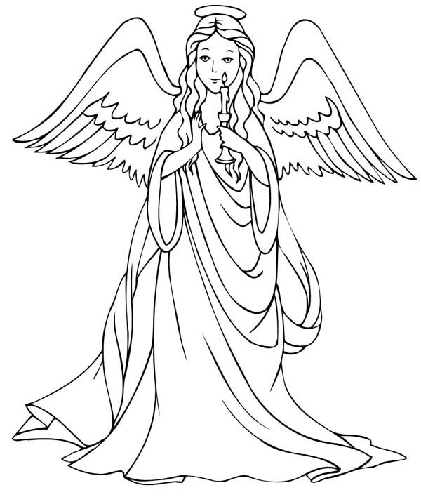 Angels, : Loving Angels Holding Candle Coloring Page