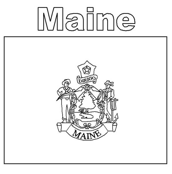 Maine State Flag Coloring Page | Color Luna