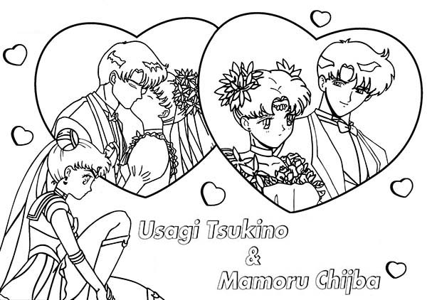 Mamoru Chiba And Tsukino Usagi In Sailor Moon Coloring Page