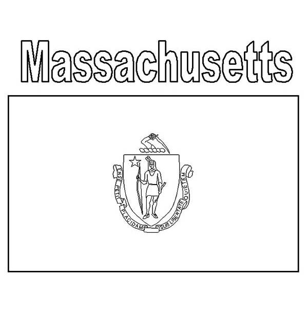 Massachusetts State Flag Coloring Page Color Luna