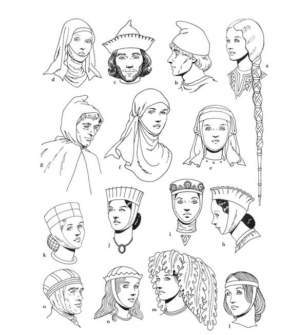 Middle Ages, : Middle Ages Clothing Coloring Page