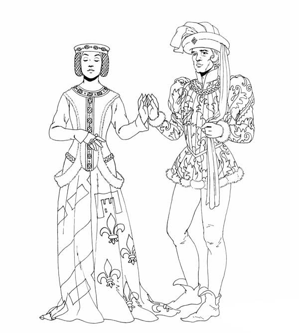 Middle Ages, : Middle Ages Dance Between Prince and Princess Coloring Page