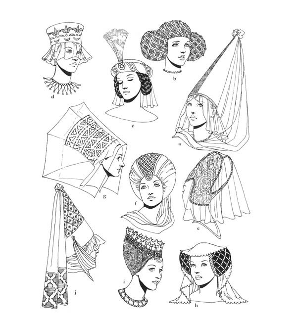 Middle Ages, : Middle Ages Fashion Coloring Page