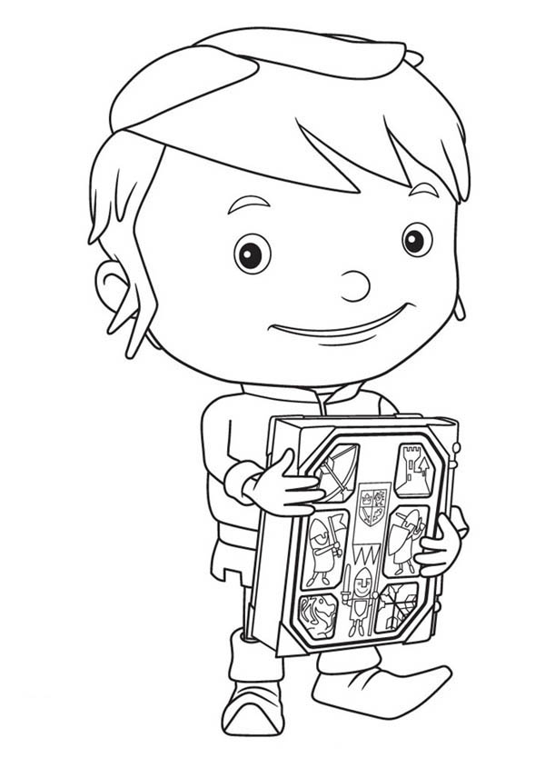 Mike the Knight, : Mike the Knight Holdig a Book Coloring Page