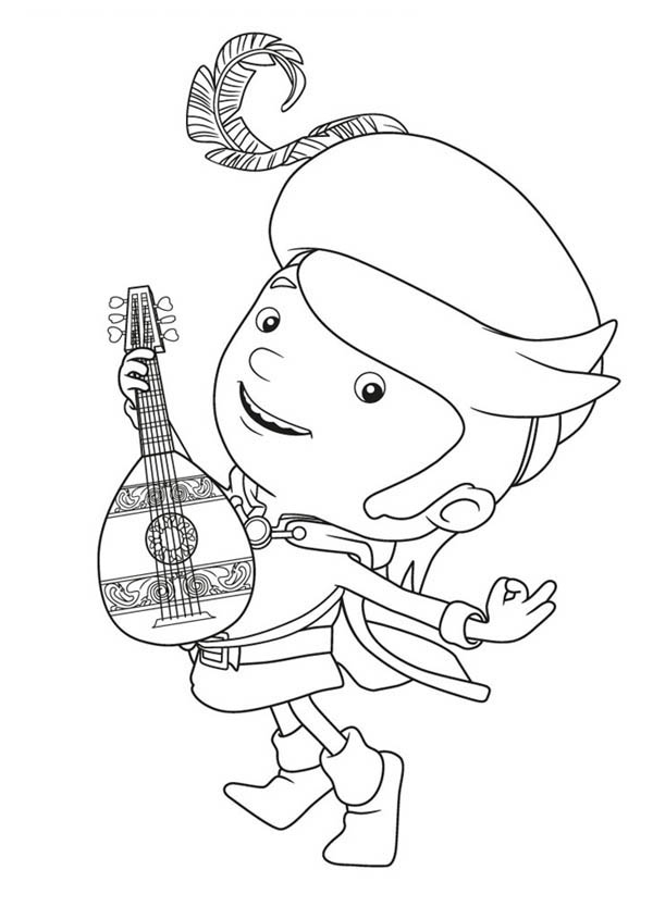 Mike the Knight, : Mike the Knight Playing Guitar Coloring Page