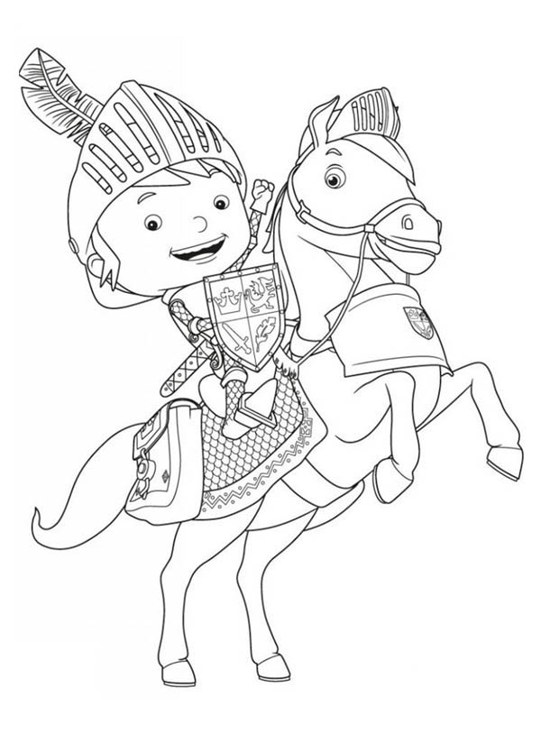 Mike the Knight, : Mike the Knight Rearing Galahad Coloring Page