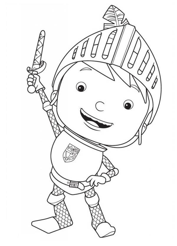 Mike the Knight, : Mike the Knight Rise His Sword Coloring Page