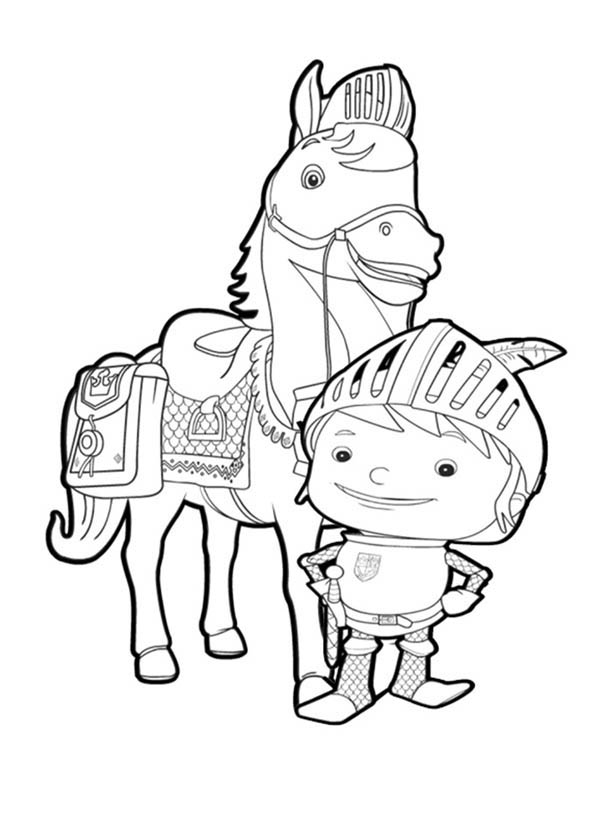 mike the knight standing in front of galahad coloring page