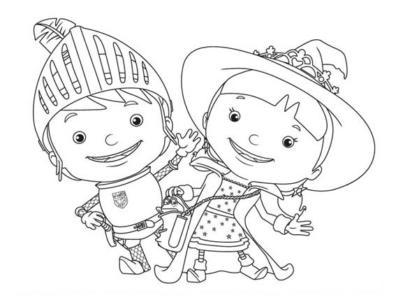 Mike the Knight, : Mike the Knight and Her Sister Evie Coloring Page