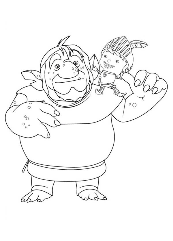 Mike the Knight, : Mike the Knight and Troll Coloring Page