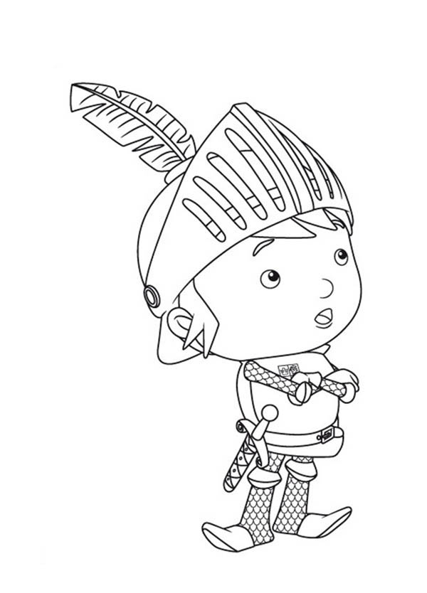 Mike the Knight, : Mike the Knight is Thinking to Solve Problem Coloring Page
