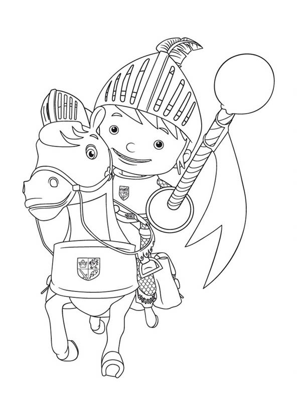 Mike the Knight, : Mike the Knight on His Horse Galahad Coloring Page